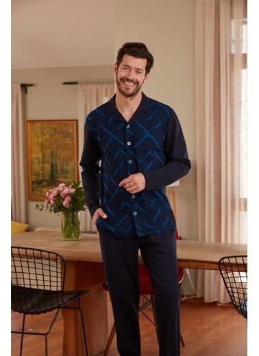 Dagi Gömlek Uzun Kollu Pijama Takımı Lacivert